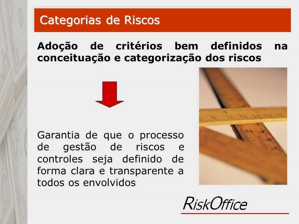 Categorias de Riscos Adoção de critérios bem definidos na conceituação e categorização dos riscos.