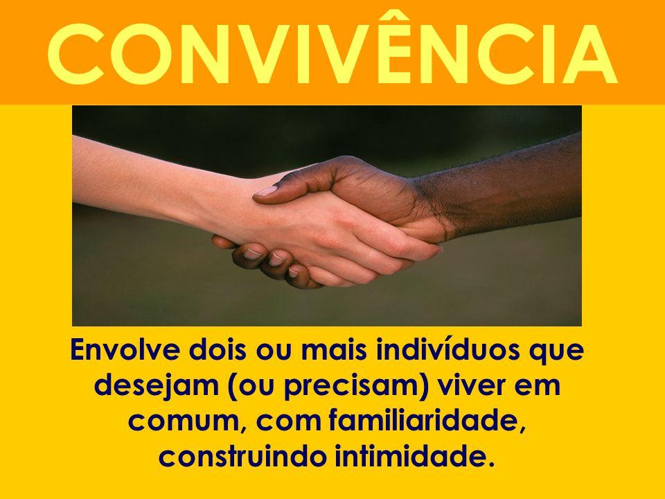 CONVIVÊNCIAEnvolve dois ou mais indivíduos que desejam (ou precisam) viver em comum, com familiaridade, construindo intimidade.
