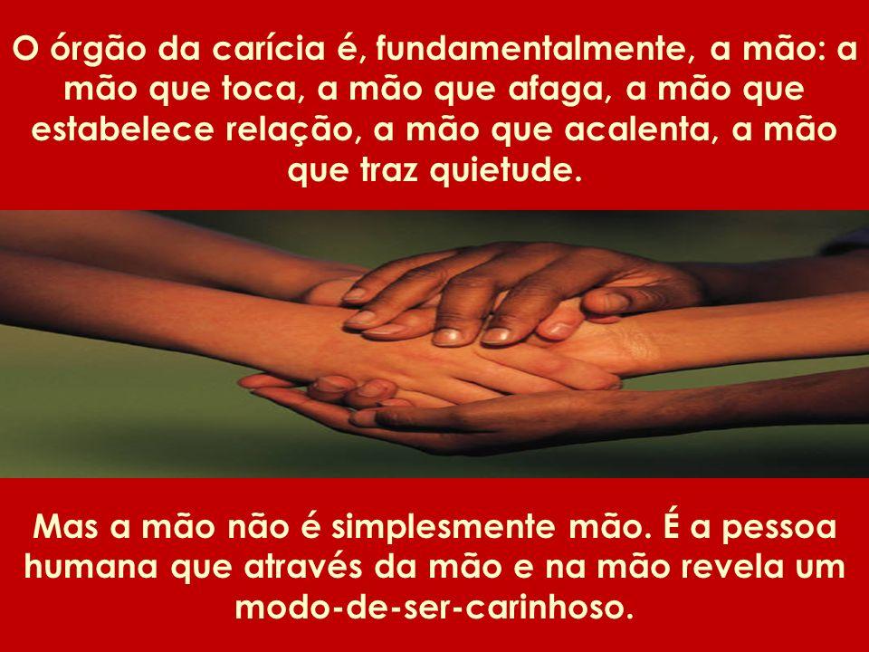 O órgão da carícia é, fundamentalmente, a mão: a mão que toca, a mão que afaga, a mão que estabelece relação, a mão que acalenta, a mão que traz quietude.