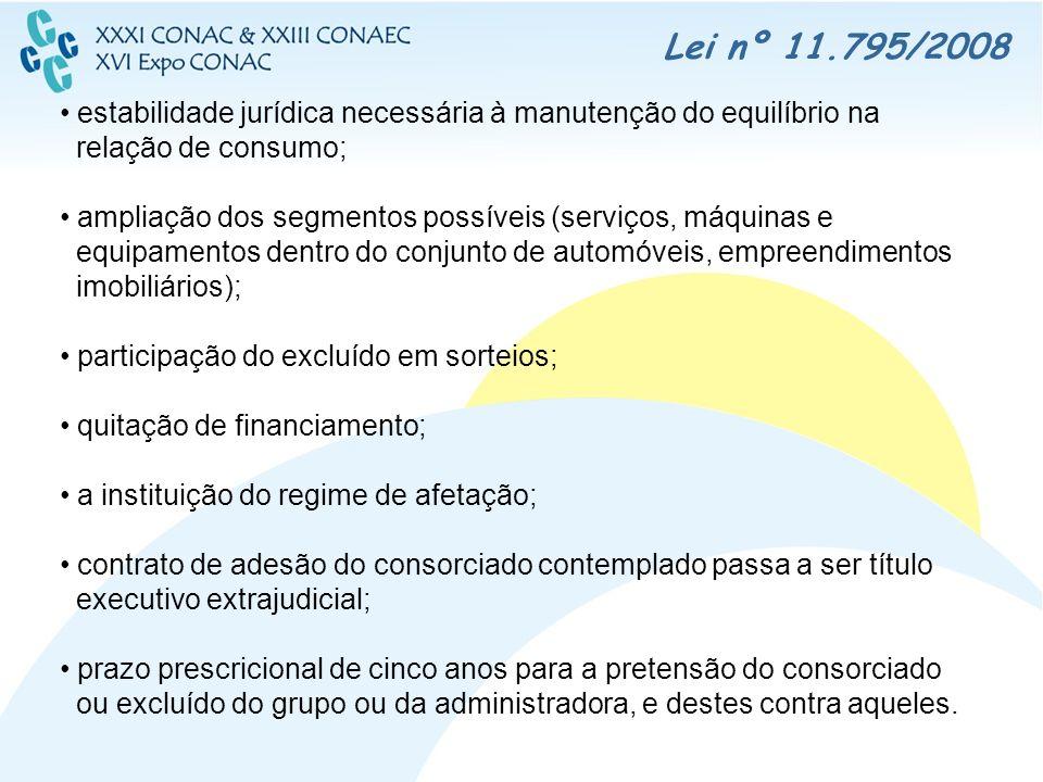 Lei nº 11.795/2008 estabilidade jurídica necessária à manutenção do equilíbrio na relação de consumo;