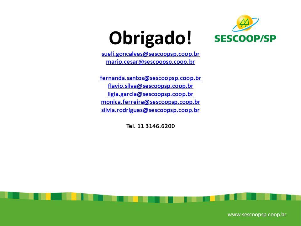 Obrigado! sueli.goncalves@sescoopsp.coop.br