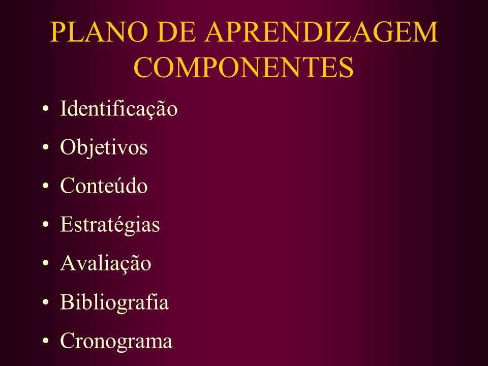 PLANO DE APRENDIZAGEM COMPONENTES
