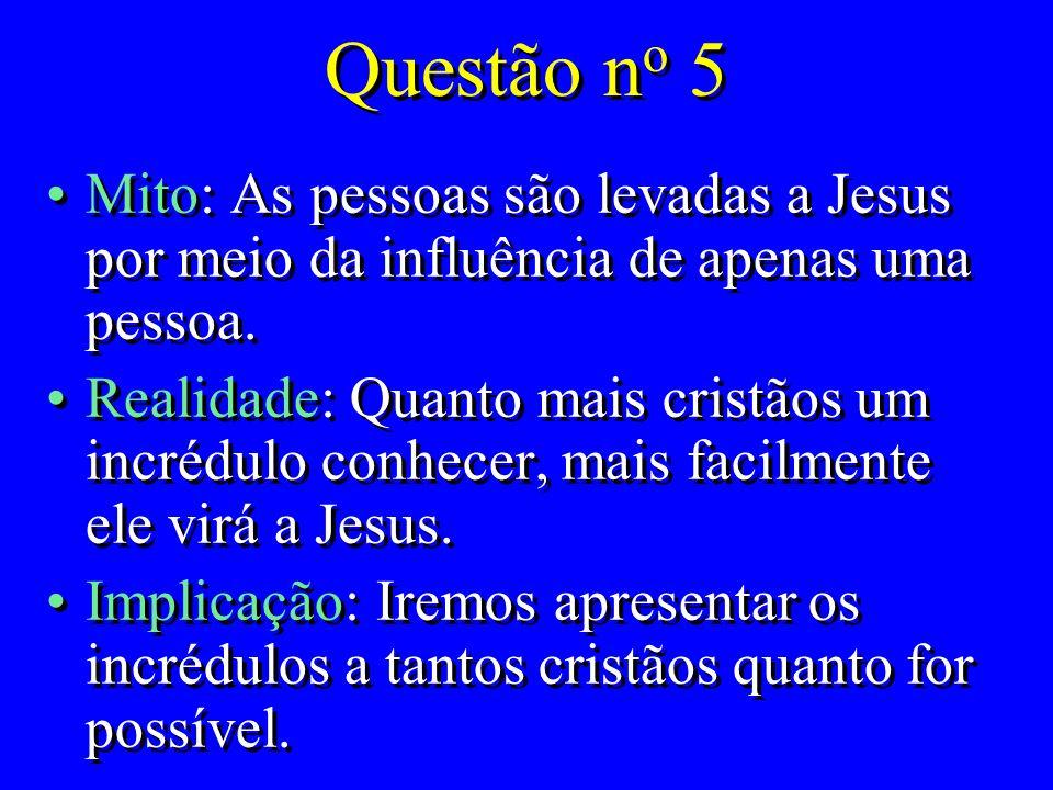 Questão no 5 Mito: As pessoas são levadas a Jesus por meio da influência de apenas uma pessoa.