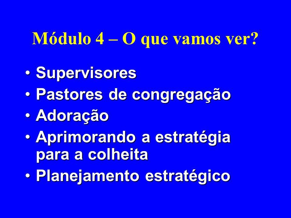 Módulo 4 – O que vamos ver Supervisores Pastores de congregação