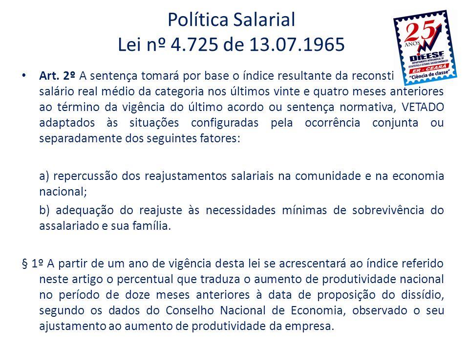 Política Salarial Lei nº 4.725 de 13.07.1965