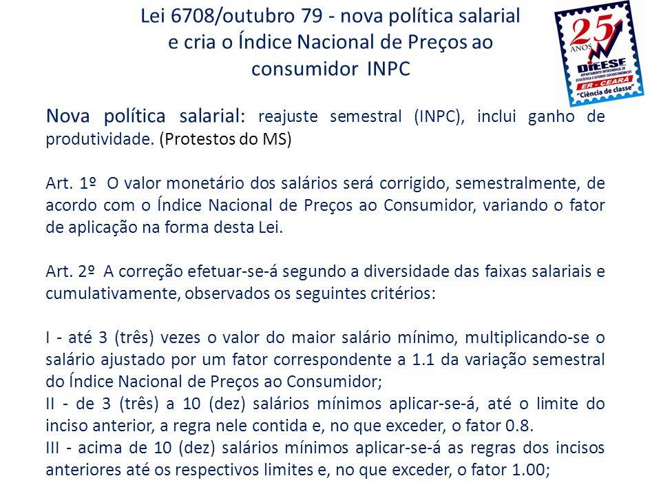 Lei 6708/outubro 79 - nova política salarial e cria o Índice Nacional de Preços ao consumidor INPC
