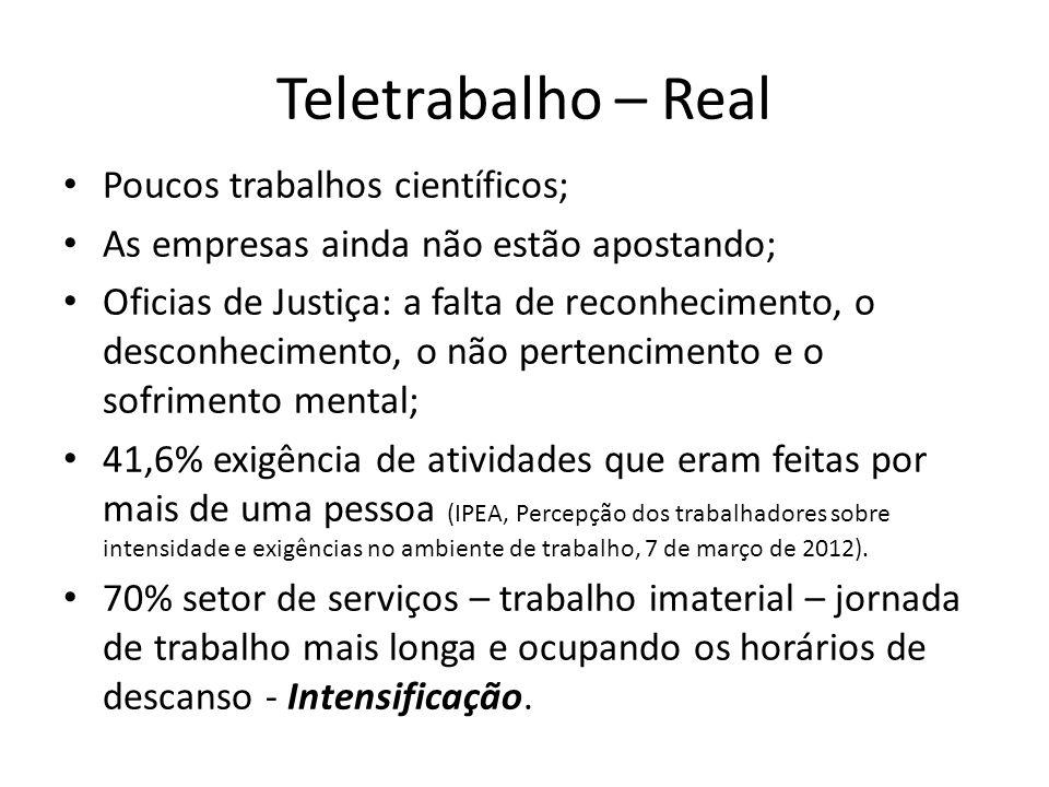 Teletrabalho – Real Poucos trabalhos científicos;