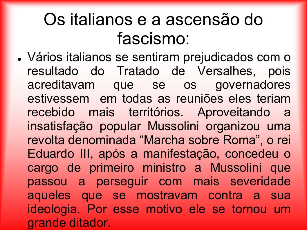 Os italianos e a ascensão do fascismo: