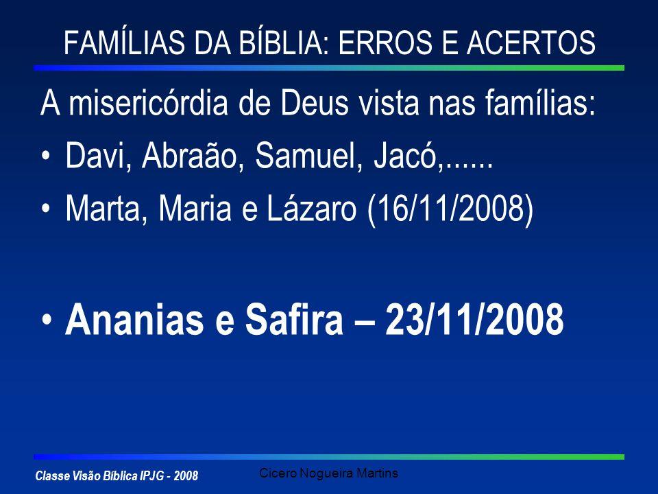 FAMÍLIAS DA BÍBLIA: ERROS E ACERTOS