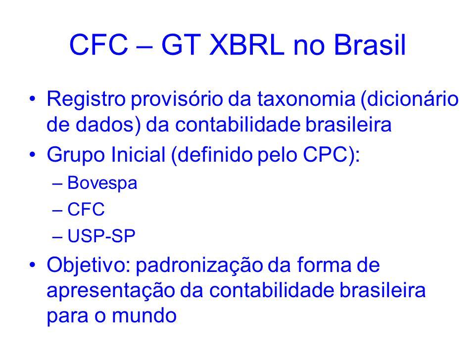 CFC – GT XBRL no Brasil Registro provisório da taxonomia (dicionário de dados) da contabilidade brasileira.