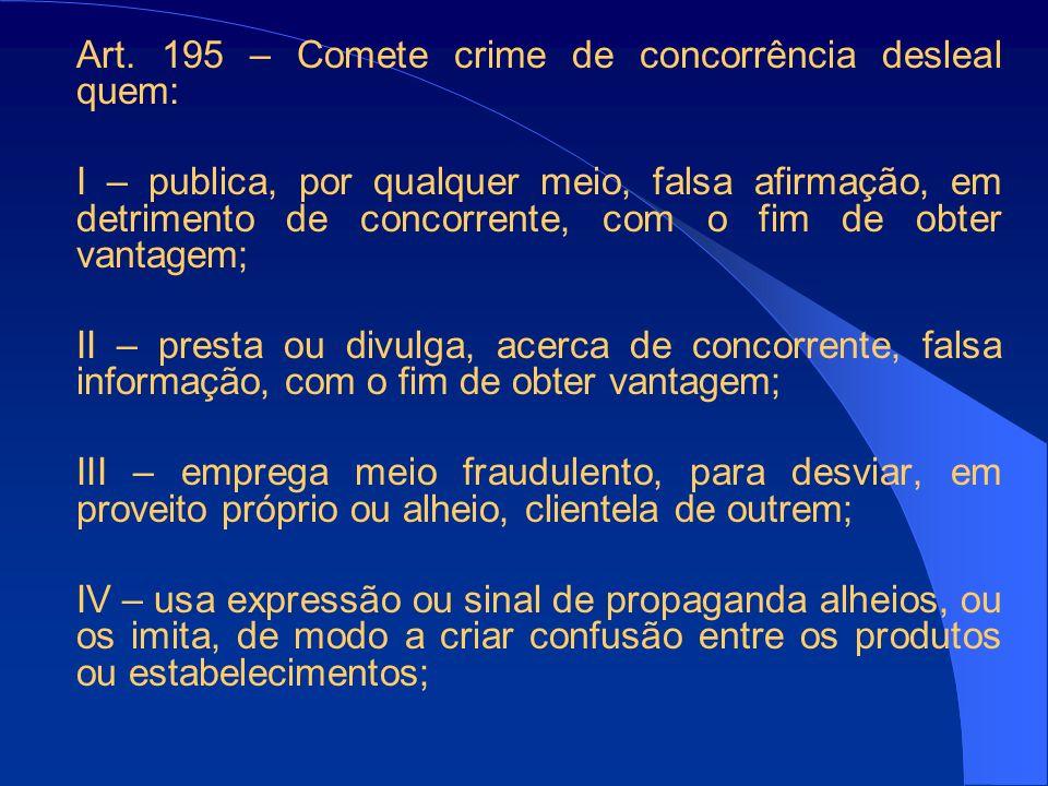 Art. 195 – Comete crime de concorrência desleal quem:
