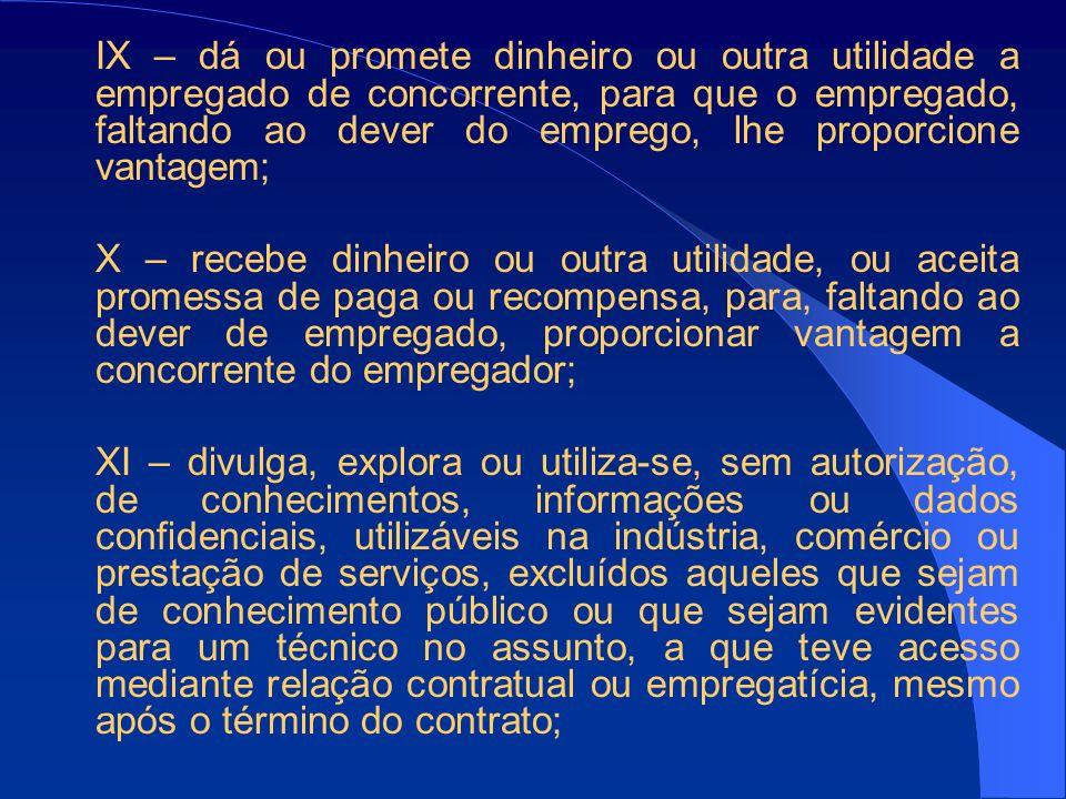 IX – dá ou promete dinheiro ou outra utilidade a empregado de concorrente, para que o empregado, faltando ao dever do emprego, lhe proporcione vantagem;