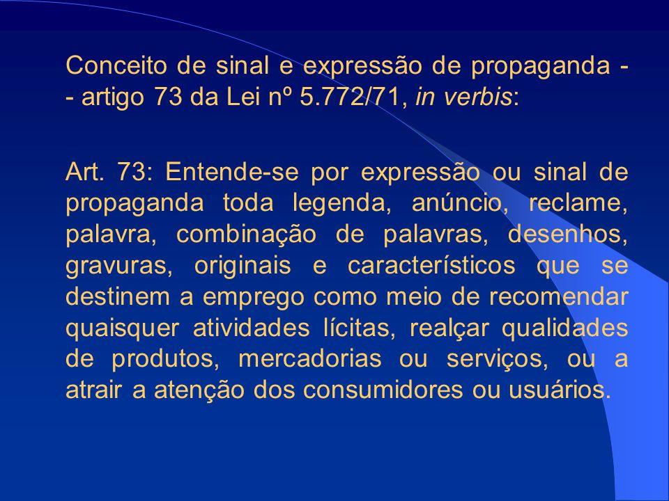Conceito de sinal e expressão de propaganda - - artigo 73 da Lei nº 5