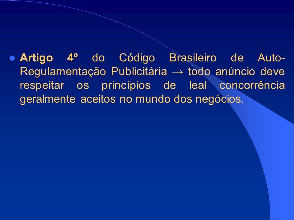 Artigo 4º do Código Brasileiro de Auto-Regulamentação Publicitária → todo anúncio deve respeitar os princípios de leal concorrência geralmente aceitos no mundo dos negócios.