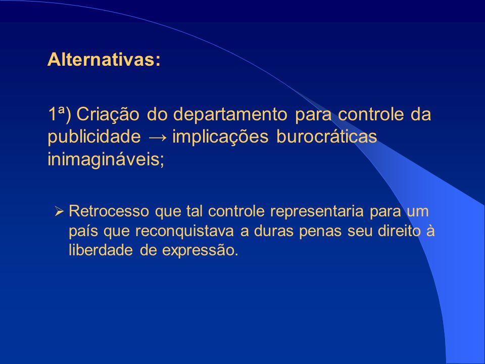 Alternativas: 1ª) Criação do departamento para controle da publicidade → implicações burocráticas inimagináveis;