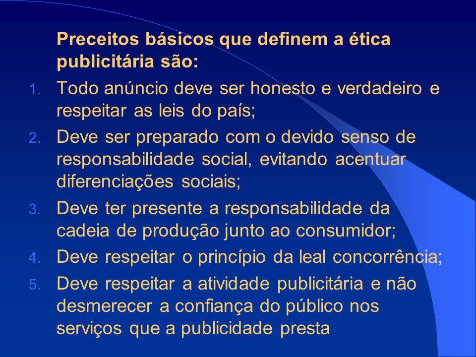 Preceitos básicos que definem a ética publicitária são:
