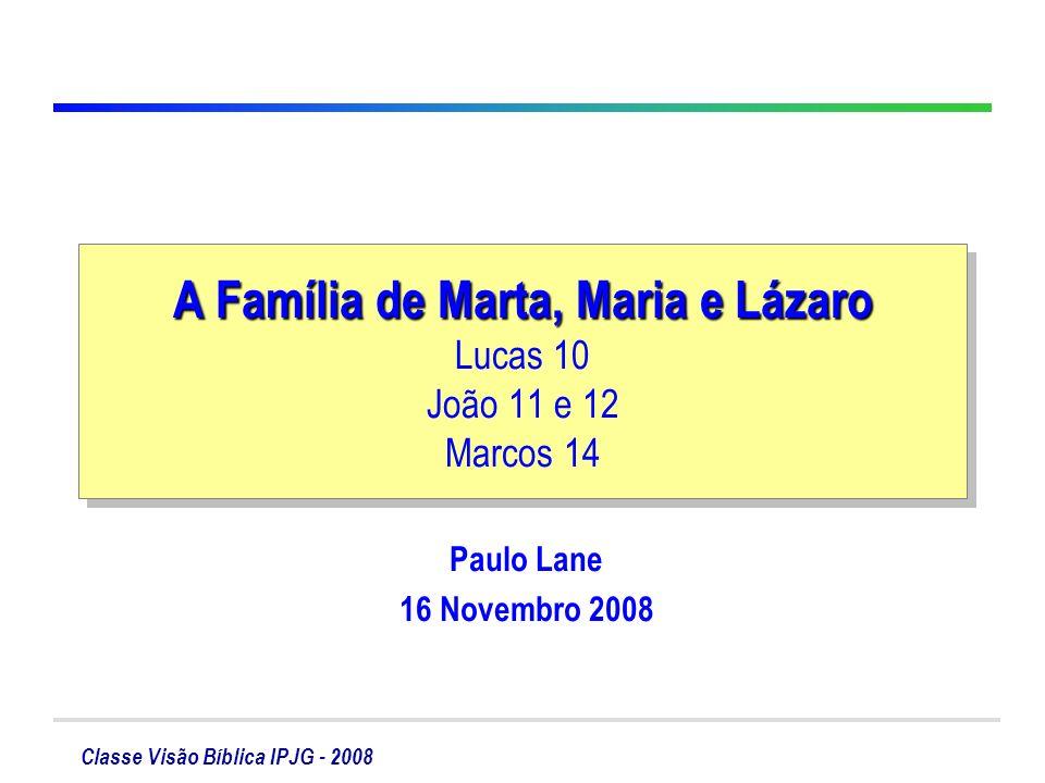 A Família de Marta, Maria e Lázaro Lucas 10 João 11 e 12 Marcos 14