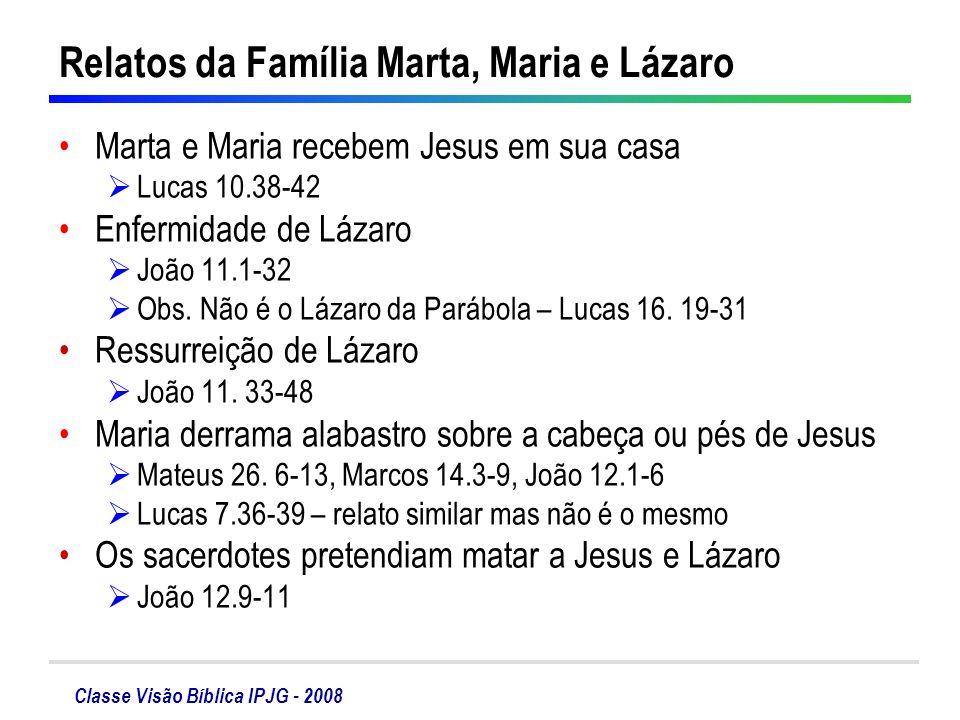 Relatos da Família Marta, Maria e Lázaro
