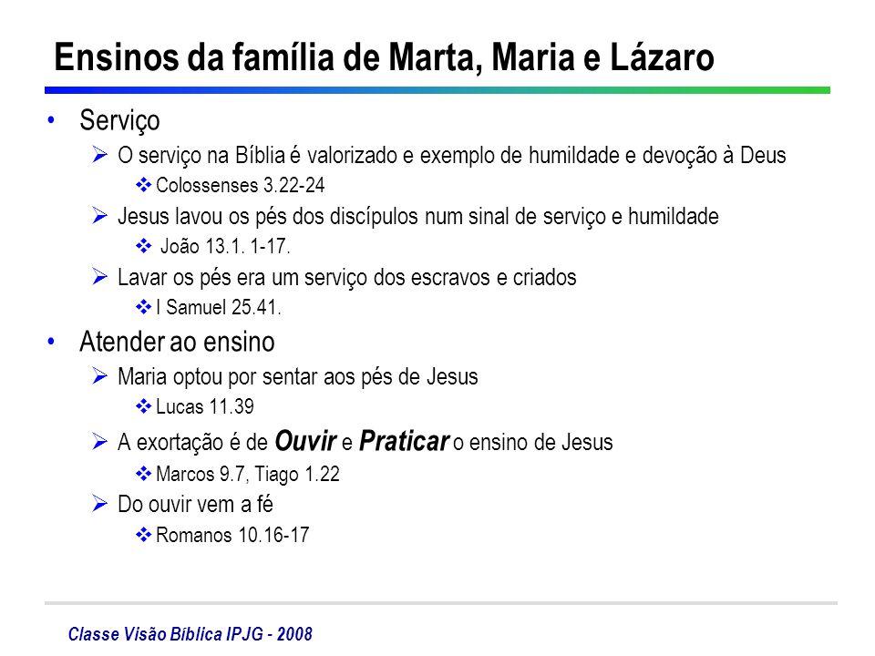 Ensinos da família de Marta, Maria e Lázaro