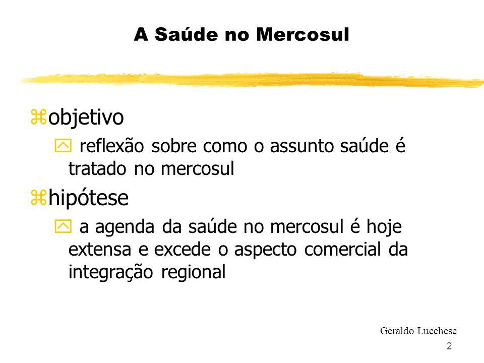 objetivo hipótese A Saúde no Mercosul