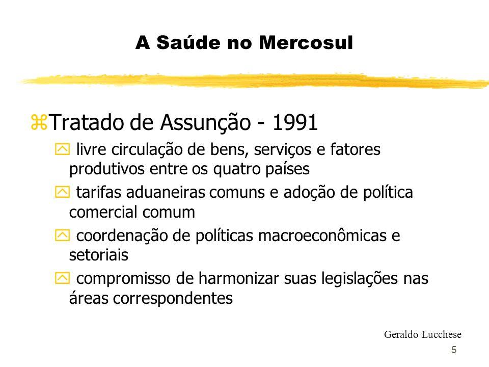 Tratado de Assunção - 1991 A Saúde no Mercosul