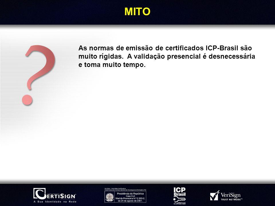 MITOAs normas de emissão de certificados ICP-Brasil são muito rígidas.