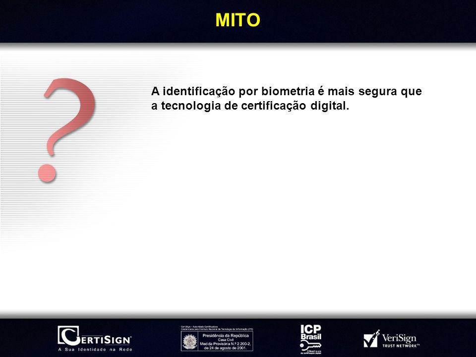 MITO A identificação por biometria é mais segura que a tecnologia de certificação digital.