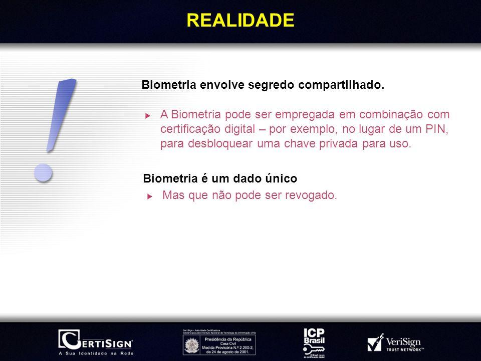 REALIDADE Biometria envolve segredo compartilhado.