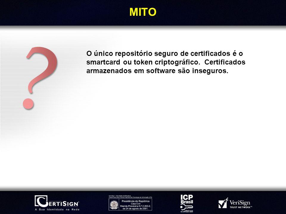 MITOO único repositório seguro de certificados é o smartcard ou token criptográfico.