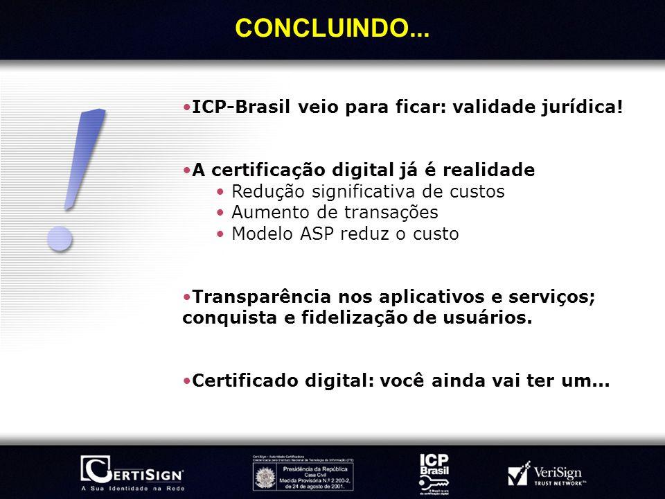 CONCLUINDO... ICP-Brasil veio para ficar: validade jurídica!