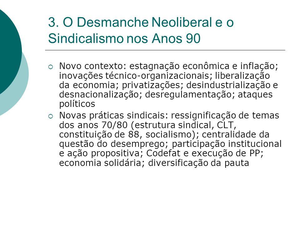 3. O Desmanche Neoliberal e o Sindicalismo nos Anos 90