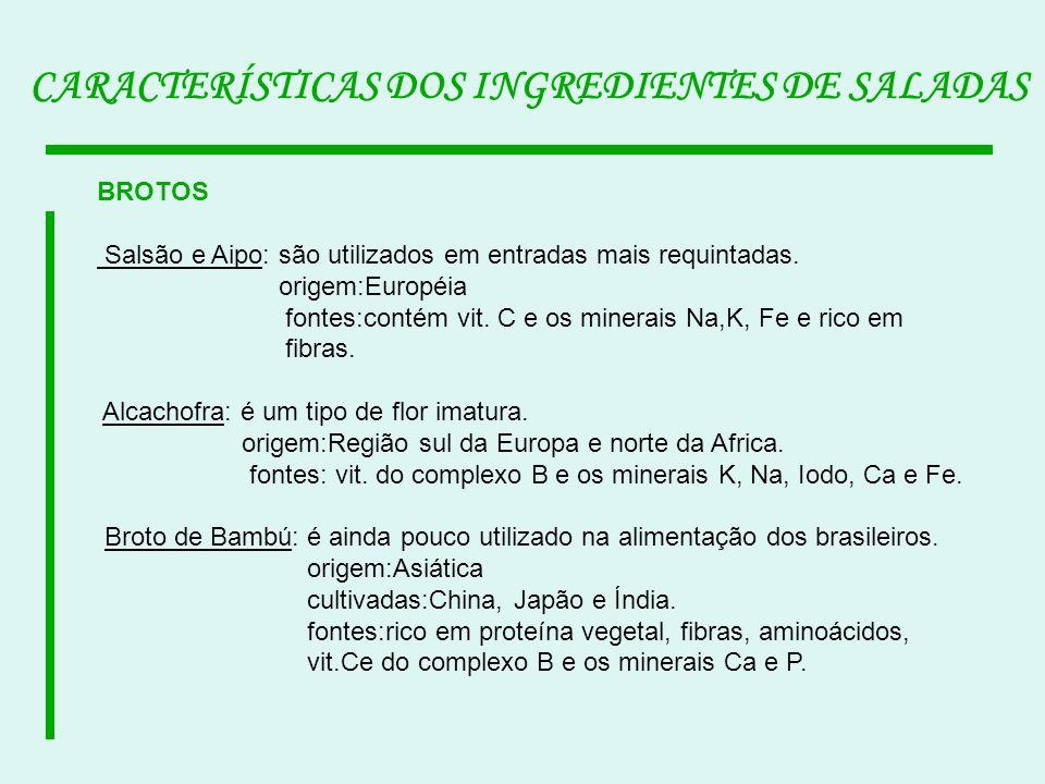 CARACTERÍSTICAS DOS INGREDIENTES DE SALADAS