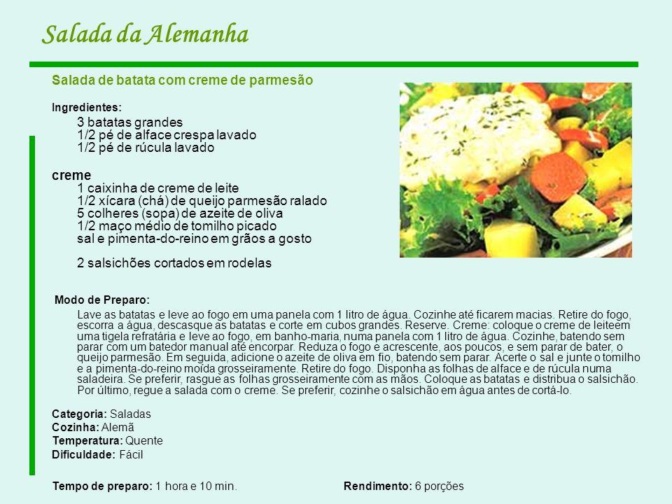 Salada da Alemanha Salada de batata com creme de parmesão