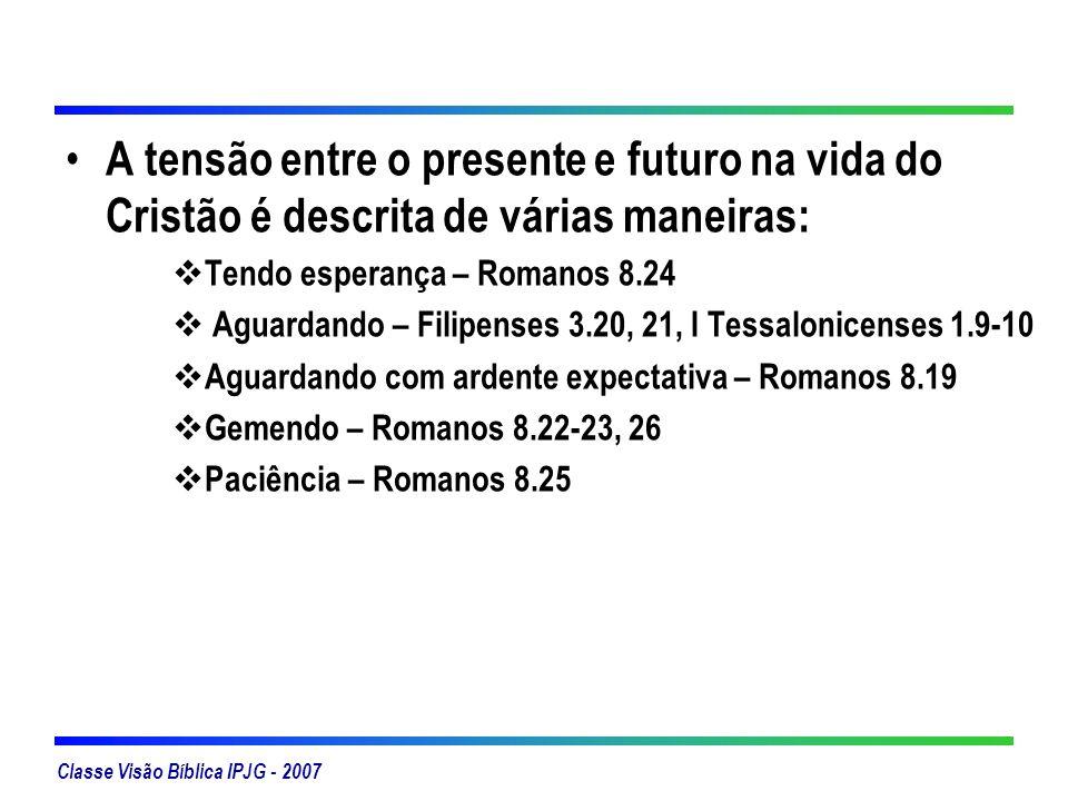 A tensão entre o presente e futuro na vida do Cristão é descrita de várias maneiras: