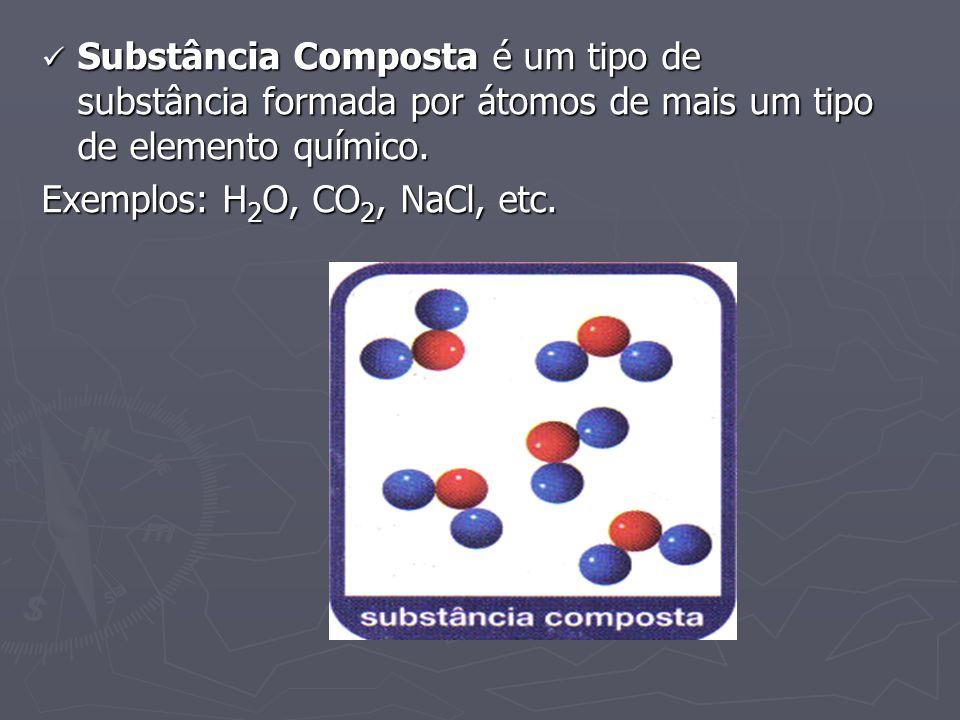 Substância Composta é um tipo de substância formada por átomos de mais um tipo de elemento químico.