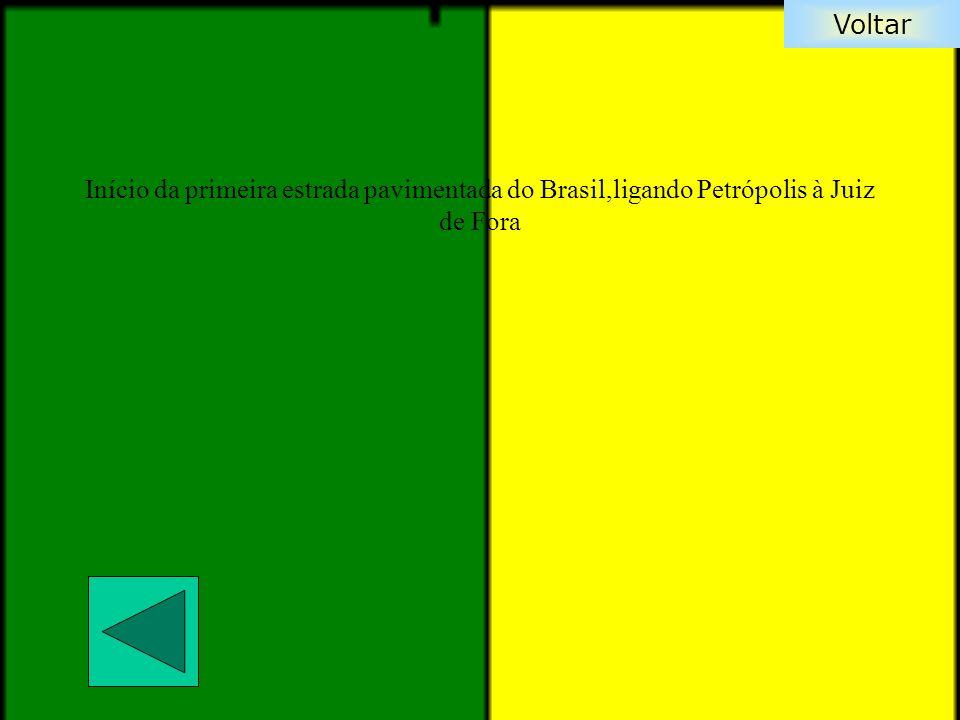 Início da primeira estrada pavimentada do Brasil,ligando Petrópolis à Juiz de Fora