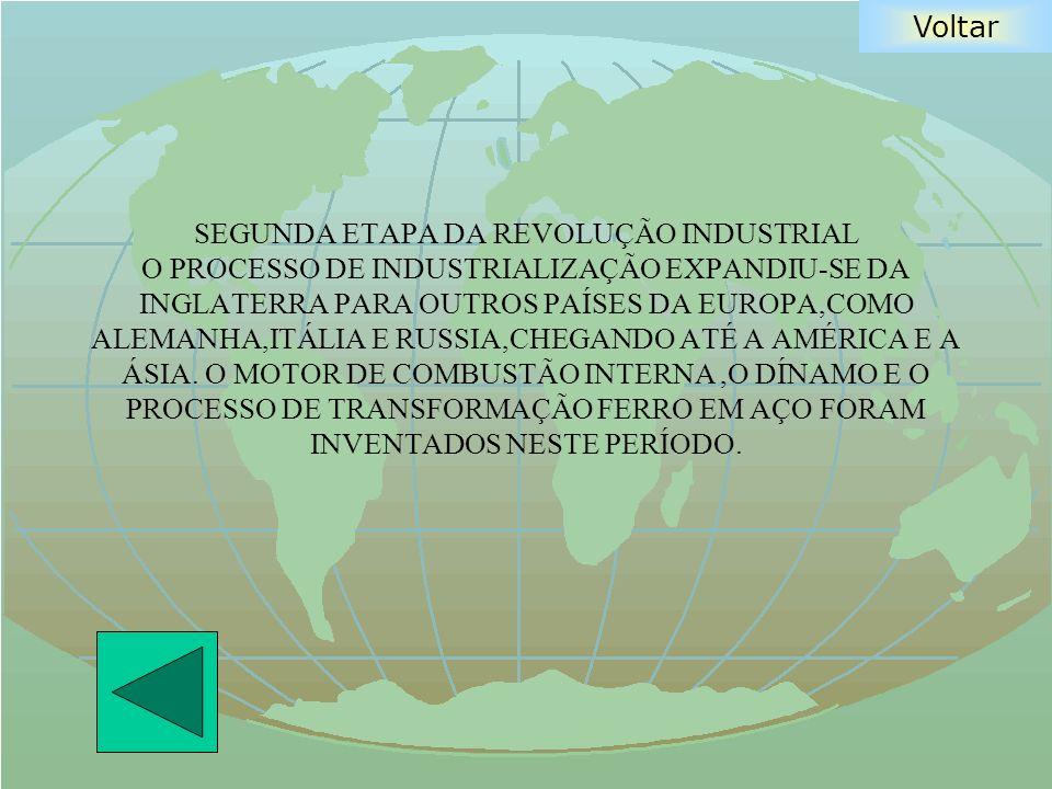SEGUNDA ETAPA DA REVOLUÇÃO INDUSTRIAL O PROCESSO DE INDUSTRIALIZAÇÃO EXPANDIU-SE DA INGLATERRA PARA OUTROS PAÍSES DA EUROPA,COMO ALEMANHA,ITÁLIA E RUSSIA,CHEGANDO ATÉ A AMÉRICA E A ÁSIA.