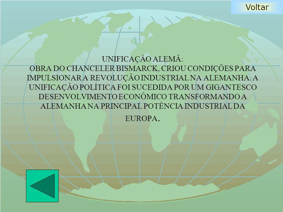 UNIFICAÇÃO ALEMÃ: OBRA DO CHANCELER BISMARCK, CRIOU CONDIÇÕES PARA IMPULSIONAR A REVOLUÇÃO INDUSTRIAL NA ALEMANHA.