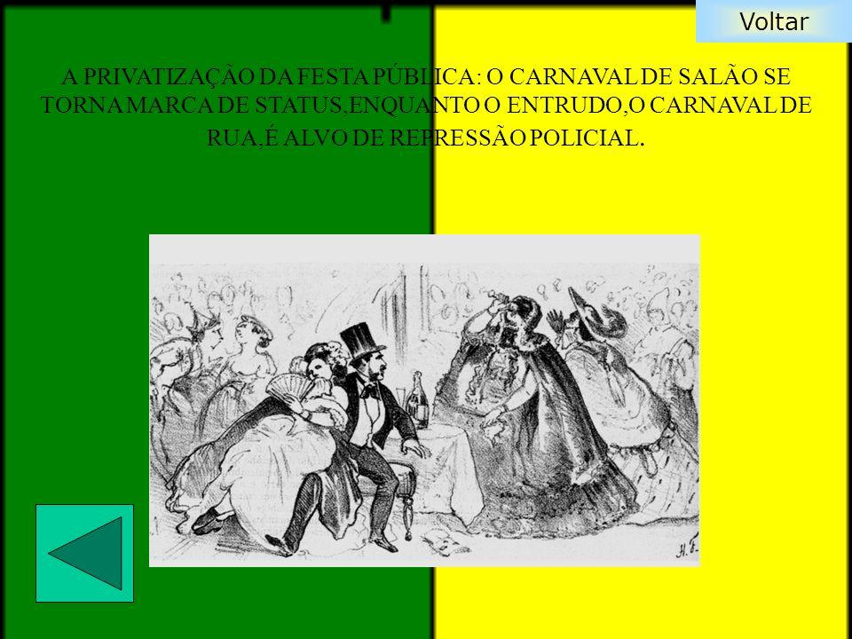 A PRIVATIZAÇÃO DA FESTA PÚBLICA: O CARNAVAL DE SALÃO SE TORNA MARCA DE STATUS,ENQUANTO O ENTRUDO,O CARNAVAL DE RUA,É ALVO DE REPRESSÃO POLICIAL.