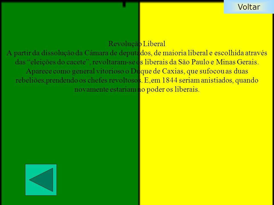 Revolução Liberal A partir da dissolução da Câmara de deputados, de maioria liberal e escolhida através das eleições do cacete , revoltaram-se os liberais da São Paulo e Minas Gerais.