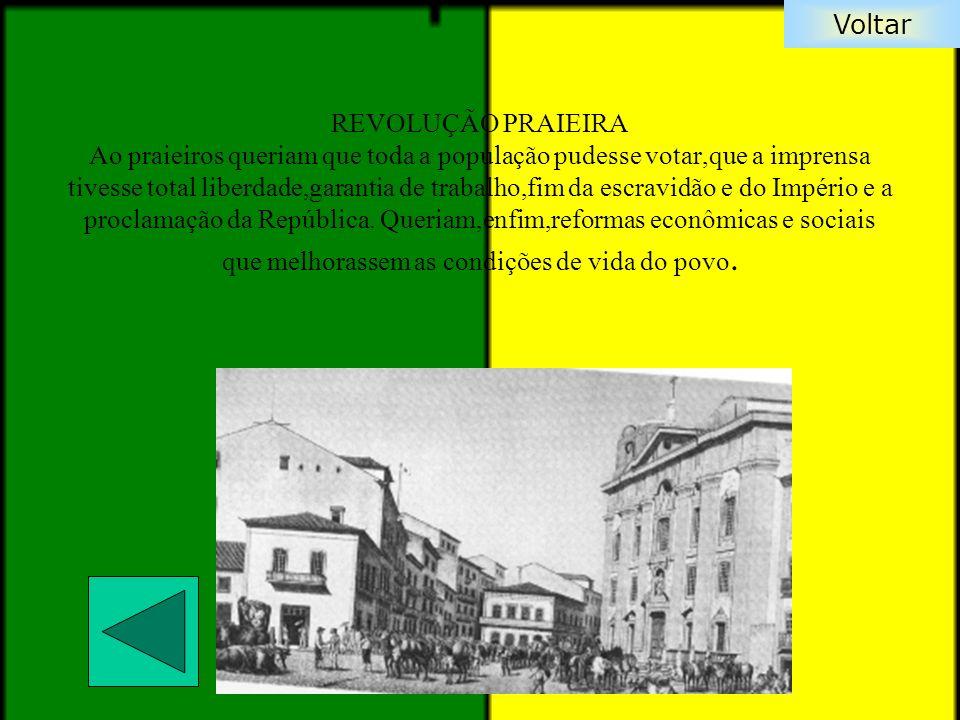 REVOLUÇÃO PRAIEIRA Ao praieiros queriam que toda a população pudesse votar,que a imprensa tivesse total liberdade,garantia de trabalho,fim da escravidão e do Império e a proclamação da República.
