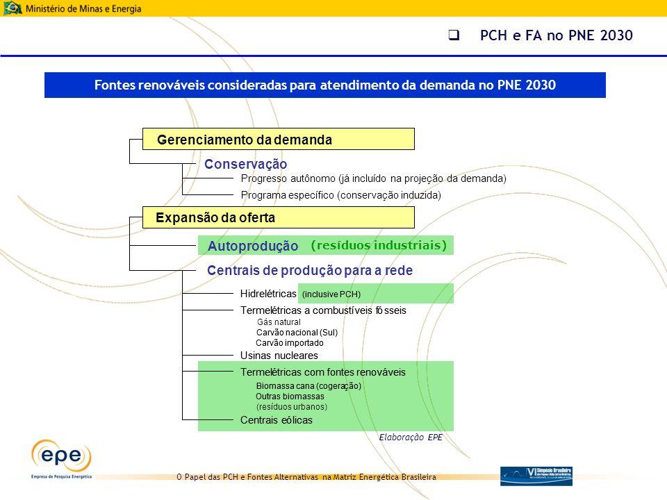 Fontes renováveis consideradas para atendimento da demanda no PNE 2030