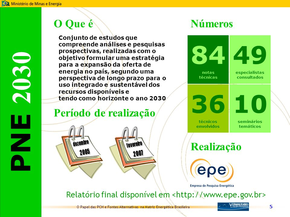 Relatório final disponível em <http://www.epe.gov.br>