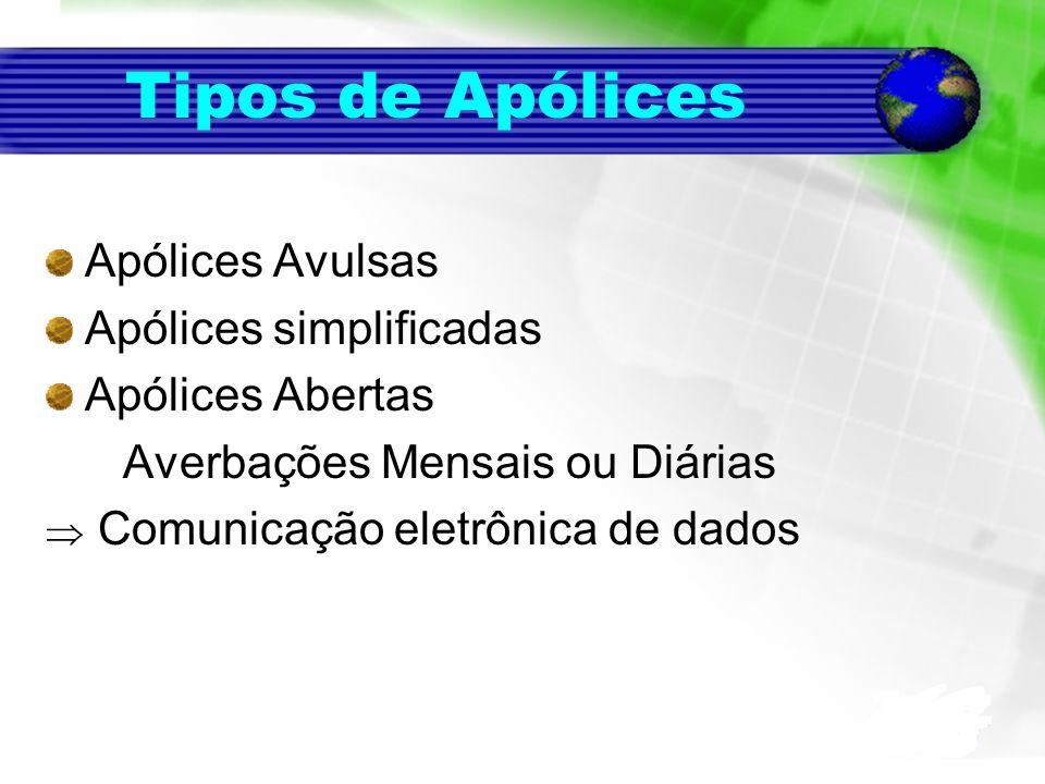 Tipos de Apólices Apólices Avulsas Apólices simplificadas