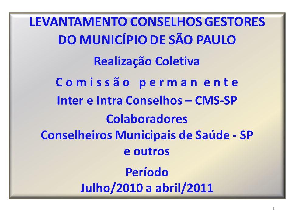 LEVANTAMENTO CONSELHOS GESTORES DO MUNICÍPIO DE SÃO PAULO