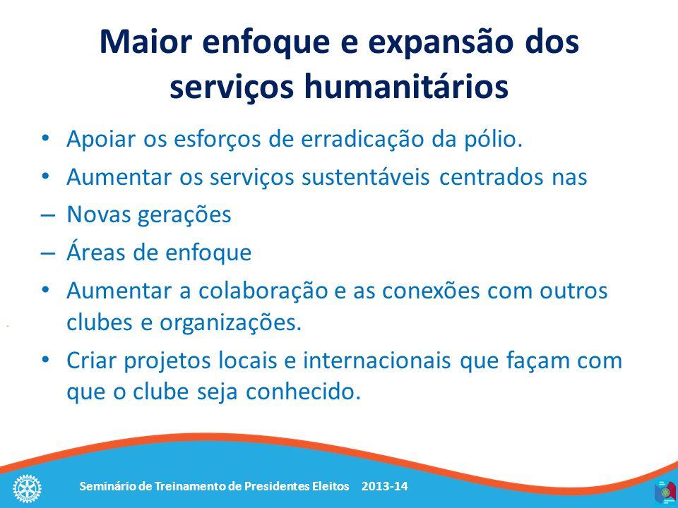 Maior enfoque e expansão dos serviços humanitários