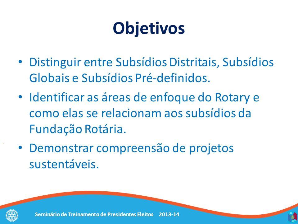 Objetivos Distinguir entre Subsídios Distritais, Subsídios Globais e Subsídios Pré-definidos.