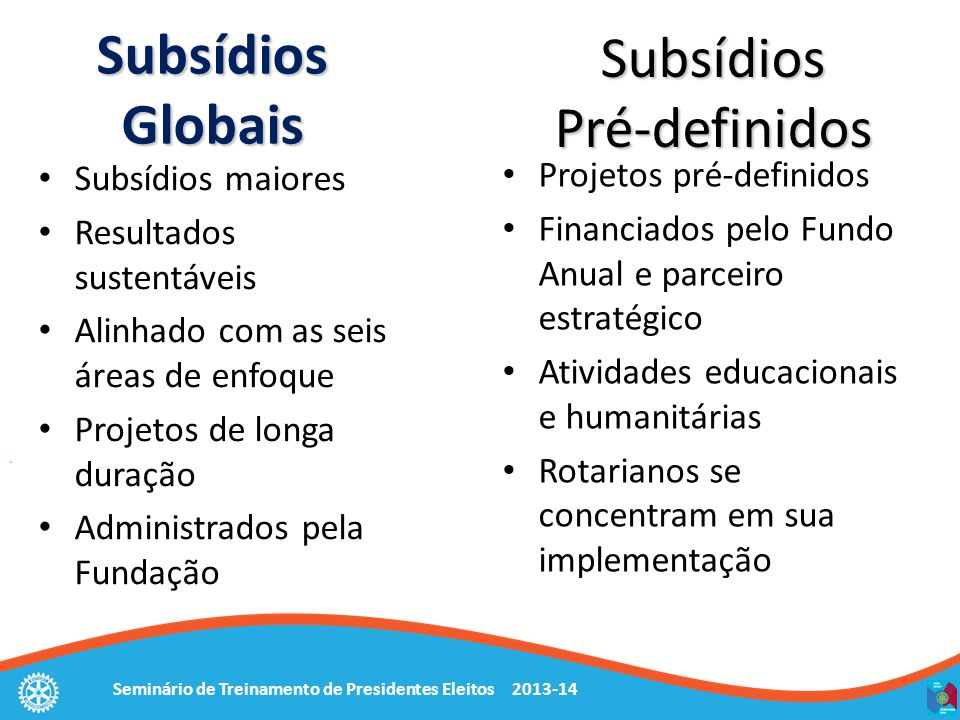 Subsídios Globais Subsídios Pré-definidos Projetos pré-definidos