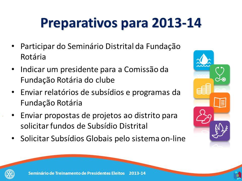 Preparativos para 2013-14Participar do Seminário Distrital da Fundação Rotária. Indicar um presidente para a Comissão da Fundação Rotária do clube.