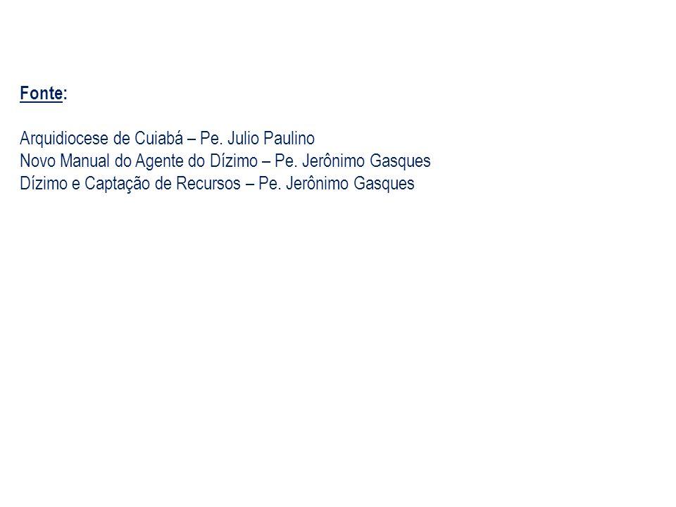 Fonte: Arquidiocese de Cuiabá – Pe. Julio Paulino. Novo Manual do Agente do Dízimo – Pe. Jerônimo Gasques.